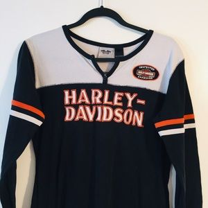 Harley Davidson Thermal Embroidered Spell Out Top